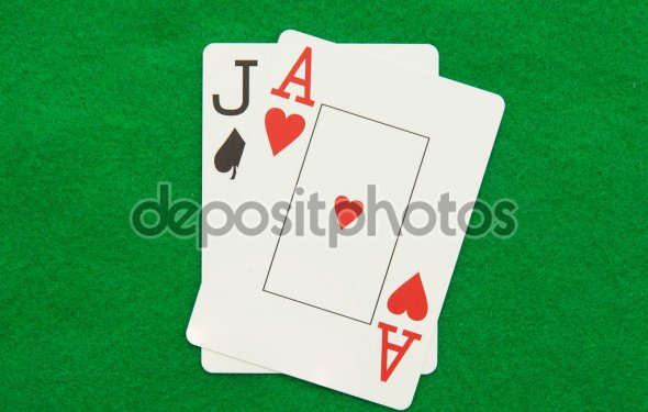 Blackjack hand with casino