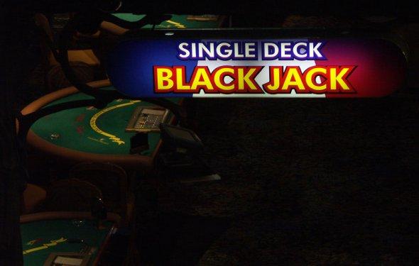 Single Deck Blackjack Sign Las
