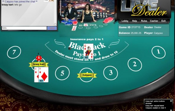 Live Dealer BlackJack (above)