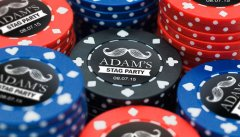 custom labels, poker chip labels, casino theme party, Las Vegas theme party