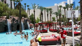 The glorious pool at the Flamingo Las Vegas resort is popular spot on weekends.