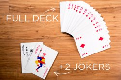 This deck of huge playing cards includes all 52 cards plus 2 jokers.
